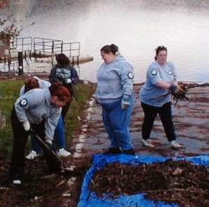 Cleanup Project in Raystown Lake 2004 with Autumn temple in action cleaning debris after a storm